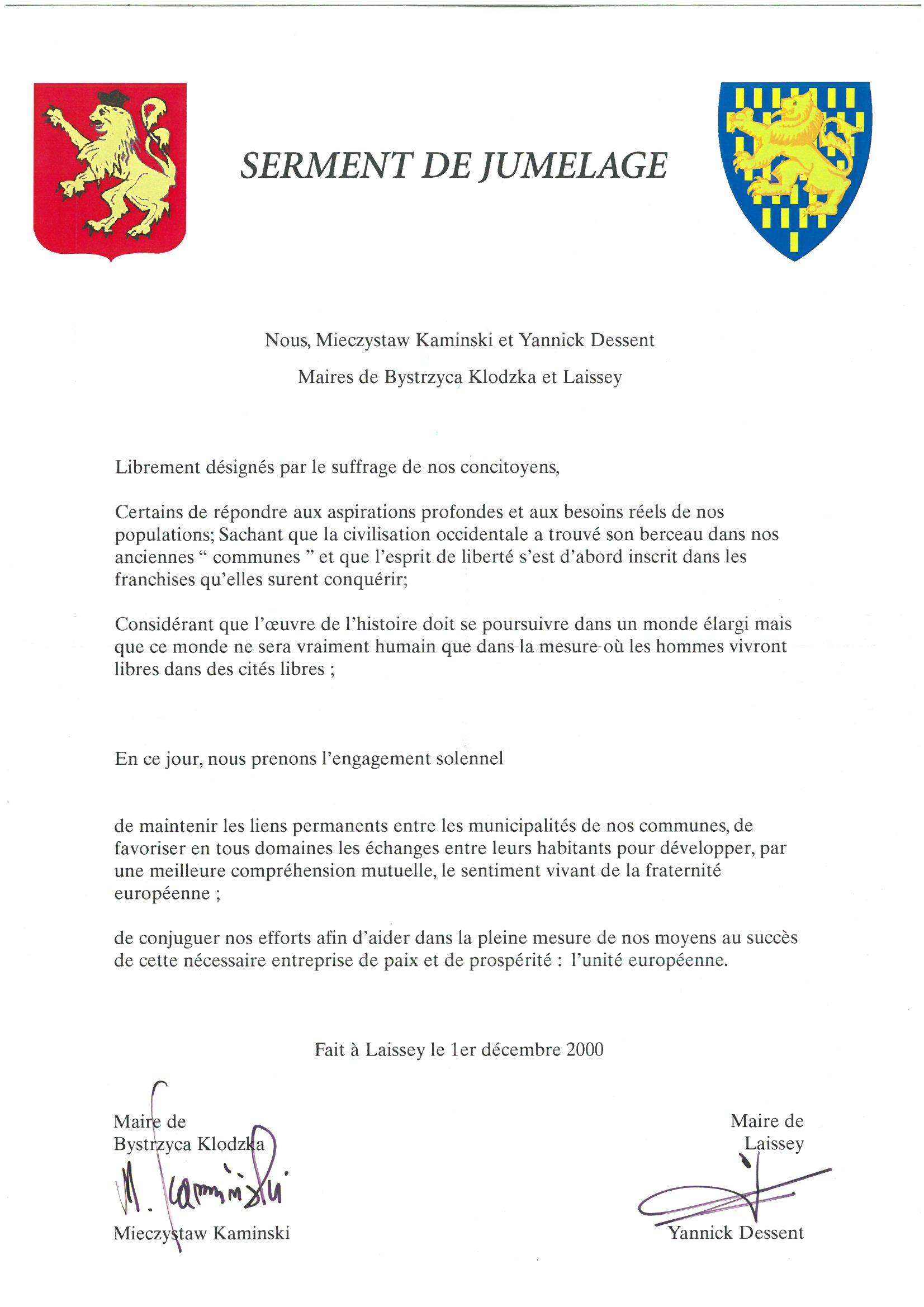 serment-de-jumelage-laissey-village-polonais-2000